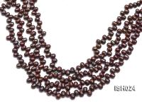 Wholesale 6x8mm Reddish Brown Side-drilled Cultured Freshwater Pearl String ISH024