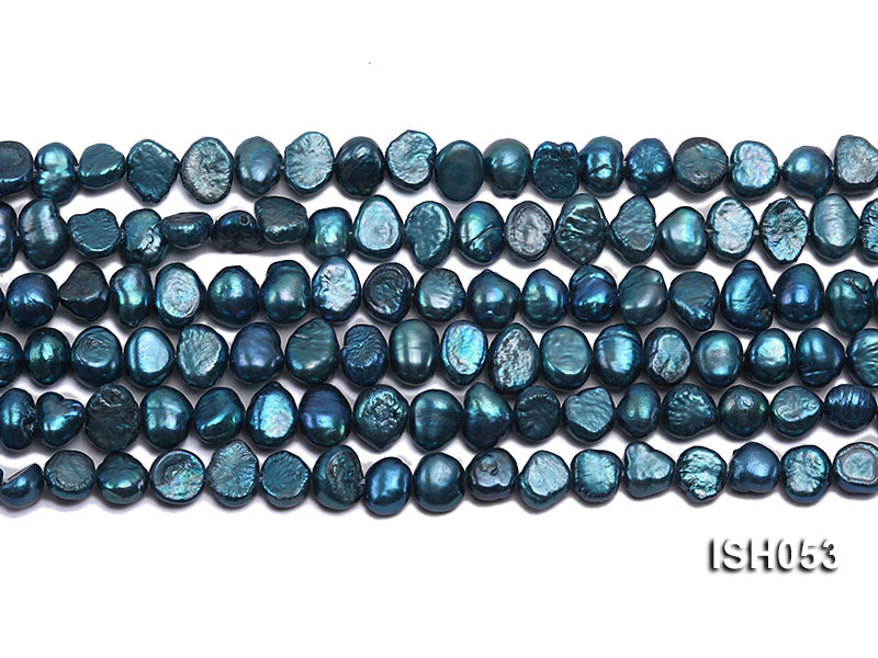 Wholesale 6x8mm Peacock Blue Flat  Freshwater Pearl String big Image 2