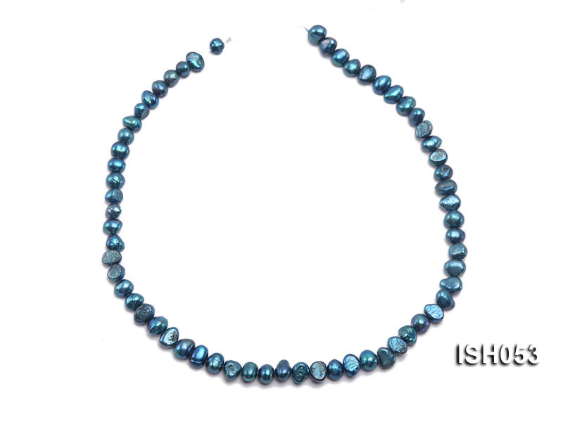 Wholesale 6x8mm Peacock Blue Flat  Freshwater Pearl String big Image 3