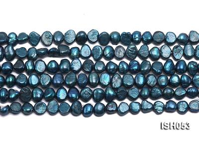Wholesale 6x8mm Peacock Blue Flat  Freshwater Pearl String ISH053 Image 2