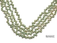 Wholesale 6x8mm Green Side-drilled Cultured Freshwater Pearl String ISH002