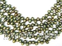 Wholesale 6x8mm Side-drilled Olive Cultured Freshwater Pearl String ISH054