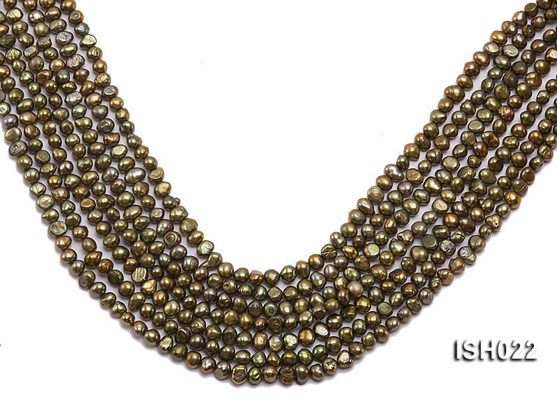 Wholesale 4x7mm Olive Side-drilled Cultured Freshwater Pearl String big Image 1