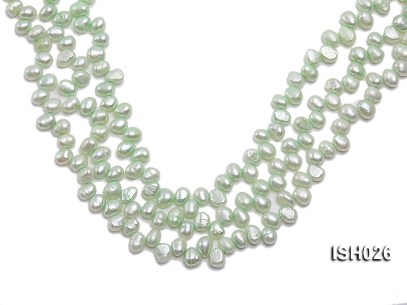 Wholesale 6.5x9mm Silver Green Side-drilled Cultured Freshwater Pearl String  big Image 1