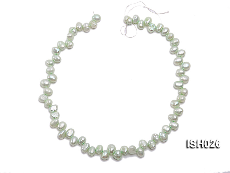 Wholesale 6.5x9mm Silver Green Side-drilled Cultured Freshwater Pearl String  big Image 3