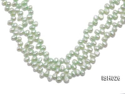 Wholesale 6.5x9mm Silver Green Side-drilled Cultured Freshwater Pearl String  ISH026 Image 1