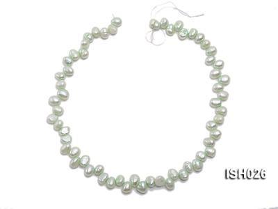 Wholesale 6.5x9mm Silver Green Side-drilled Cultured Freshwater Pearl String  ISH026 Image 3