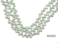 Wholesale 6.5x9mm Silver Green Side-drilled Cultured Freshwater Pearl String  ISH026