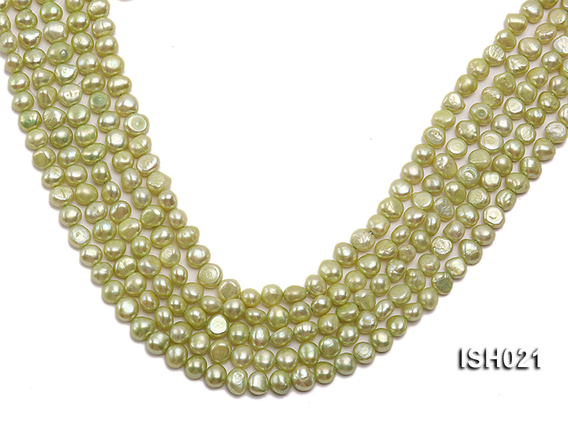Wholesale 5x7mm Light Green Flat  Freshwater Pearl String big Image 1