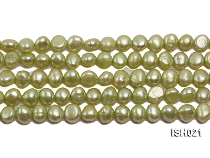 Wholesale 5x7mm Light Green Flat  Freshwater Pearl String big Image 2