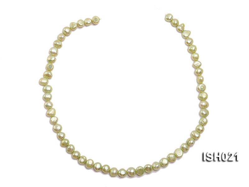 Wholesale 5x7mm Light Green Flat  Freshwater Pearl String big Image 3