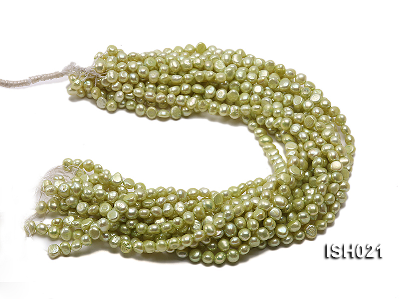 Wholesale 5x7mm Light Green Flat  Freshwater Pearl String big Image 4