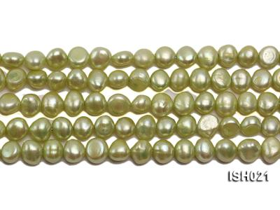 Wholesale 5x7mm Light Green Flat  Freshwater Pearl String ISH021 Image 2