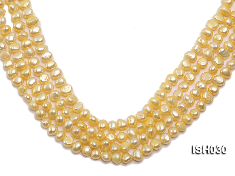 Wholesale 6x8mm Yellow Flat  Freshwater Pearl String big Image 1
