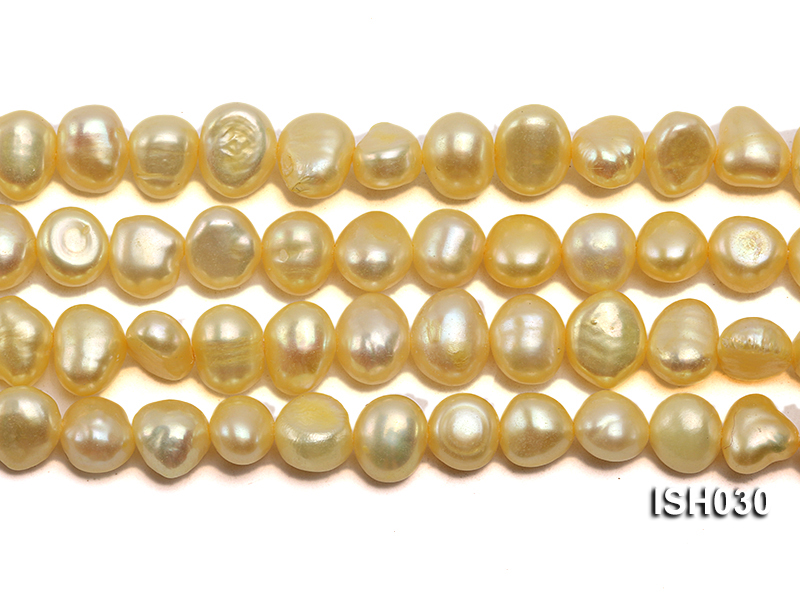 Wholesale 6x8mm Yellow Flat  Freshwater Pearl String big Image 2