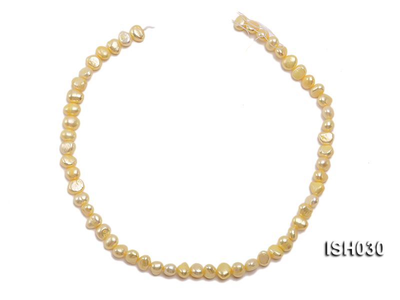 Wholesale 6x8mm Yellow Flat  Freshwater Pearl String big Image 3
