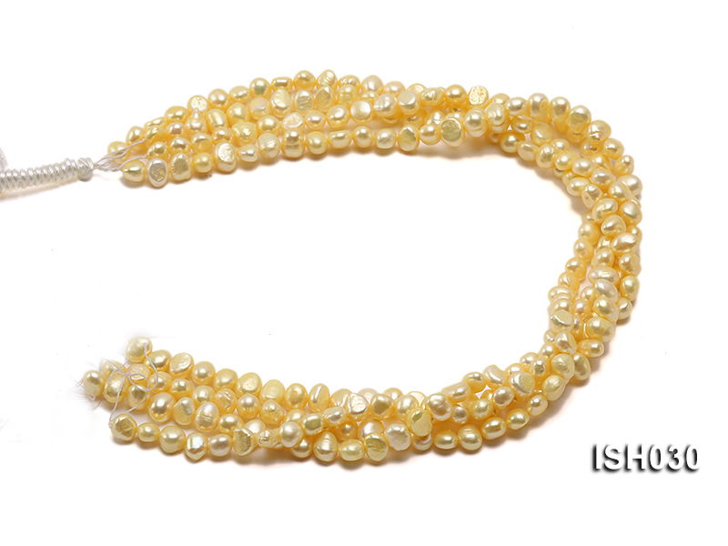 Wholesale 6x8mm Yellow Flat  Freshwater Pearl String big Image 4