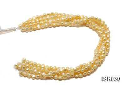 Wholesale 6x8mm Yellow Flat  Freshwater Pearl String ISH030 Image 4