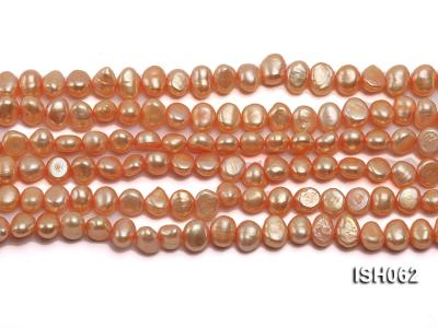 Wholesale 7x9mm Orange Side-drilled Cultured Freshwater Pearl String ISH062 Image 4