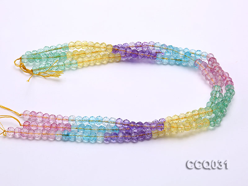 Wholesale 6x8mm Oval Multi-color Faceted Simulated Crystal Beads String big Image 3