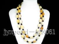 13x17mm white irregular agate and black round agate necklace AGN061