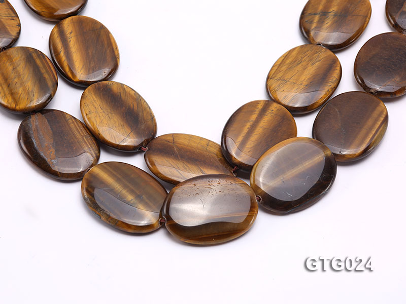 Wholesale 30x40mm Oval Tigereye Pieces Strings big Image 1