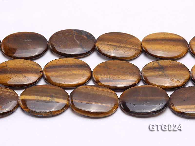 Wholesale 30x40mm Oval Tigereye Pieces Strings big Image 2