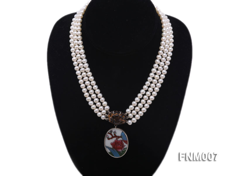 3 strand 5-6mm white round freshwater pearl necklace with cloisonne pendant  big Image 1