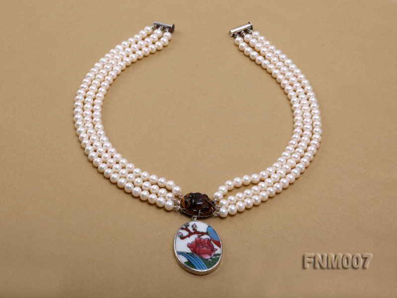 3 strand 5-6mm white round freshwater pearl necklace with cloisonne pendant  big Image 2