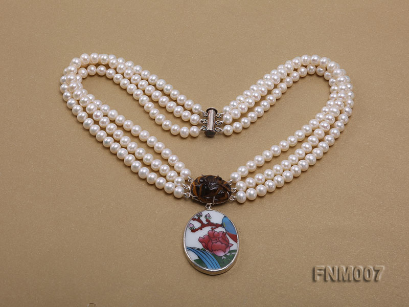 3 strand 5-6mm white round freshwater pearl necklace with cloisonne pendant  big Image 3