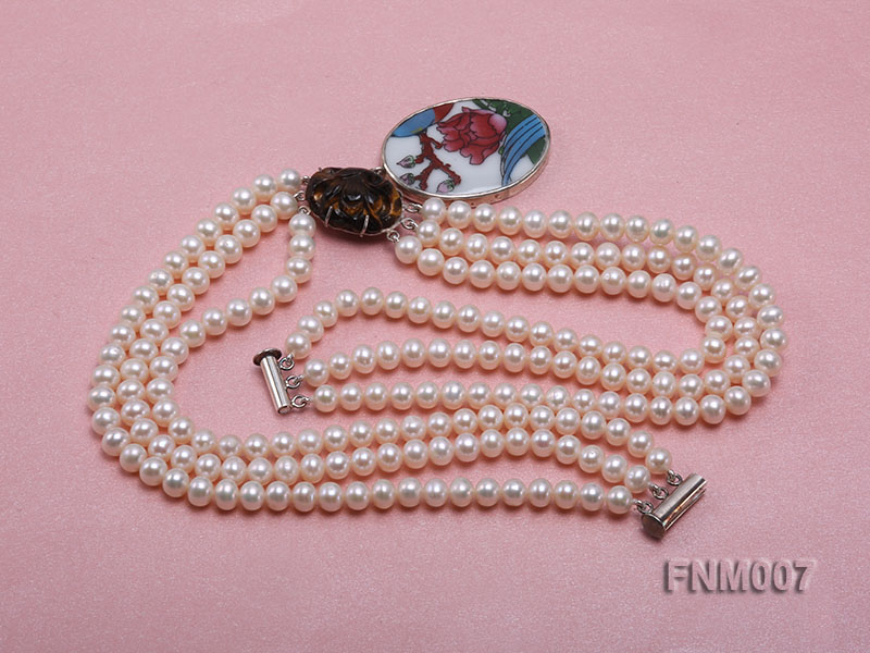 3 strand 5-6mm white round freshwater pearl necklace with cloisonne pendant  big Image 4