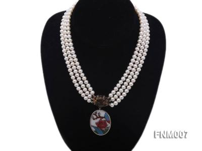 3 strand 5-6mm white round freshwater pearl necklace with cloisonne pendant  FNM007 Image 1