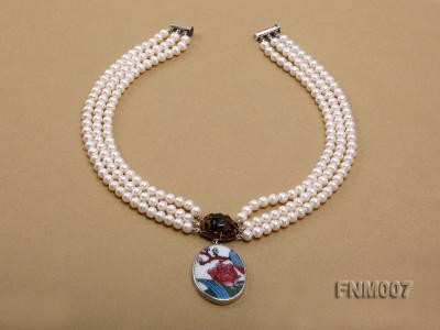 3 strand 5-6mm white round freshwater pearl necklace with cloisonne pendant  FNM007 Image 2