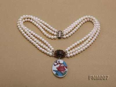 3 strand 5-6mm white round freshwater pearl necklace with cloisonne pendant  FNM007 Image 3