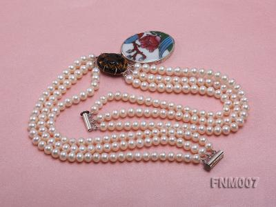 3 strand 5-6mm white round freshwater pearl necklace with cloisonne pendant  FNM007 Image 4