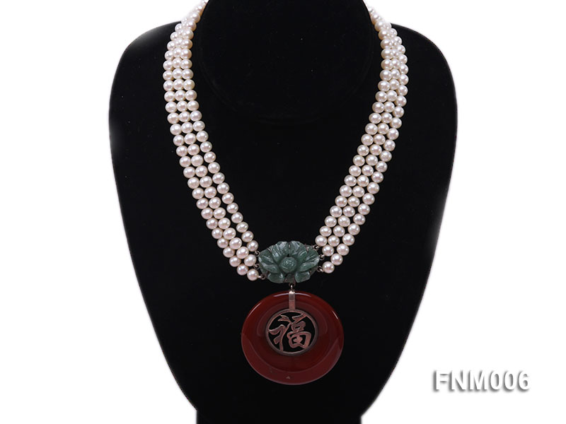 3 strand 5-6mm white round freshwater pearl necklace with agate pendant  big Image 1