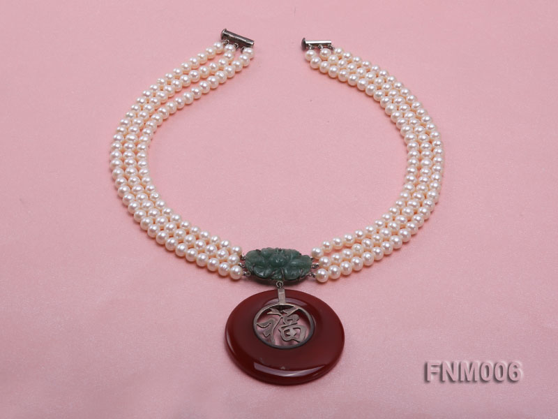 3 strand 5-6mm white round freshwater pearl necklace with agate pendant  big Image 2