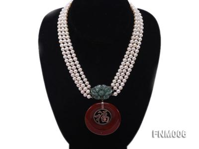 3 strand 5-6mm white round freshwater pearl necklace with agate pendant  FNM006 Image 1
