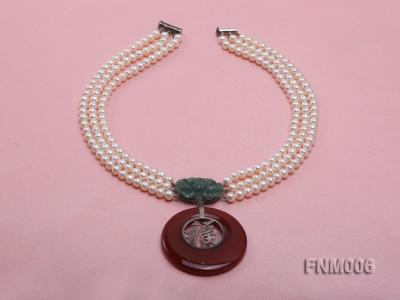 3 strand 5-6mm white round freshwater pearl necklace with agate pendant  FNM006 Image 2