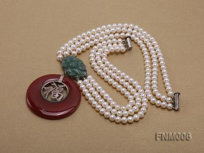 3 strand 5-6mm white round freshwater pearl necklace with agate pendant  FNM006 Image 4