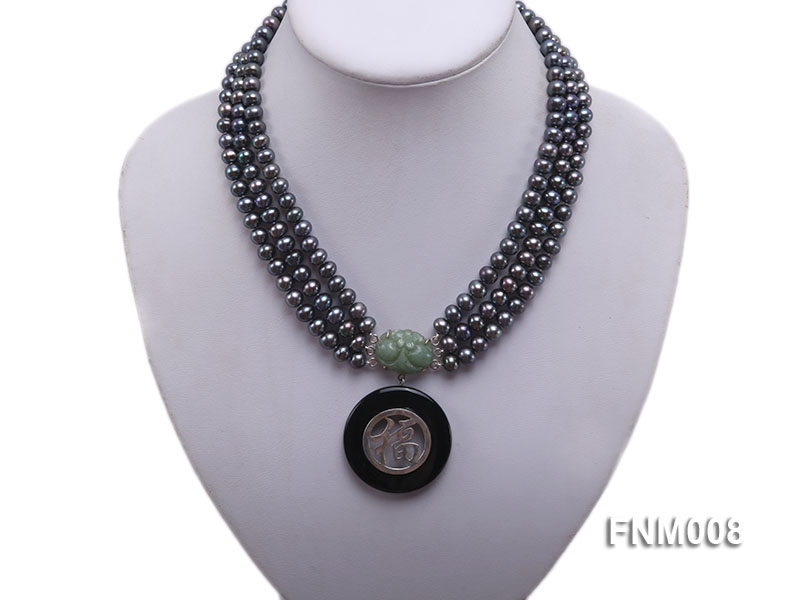3 strand 5-6mm black round freshwater pearl necklace with agate pendant  big Image 1