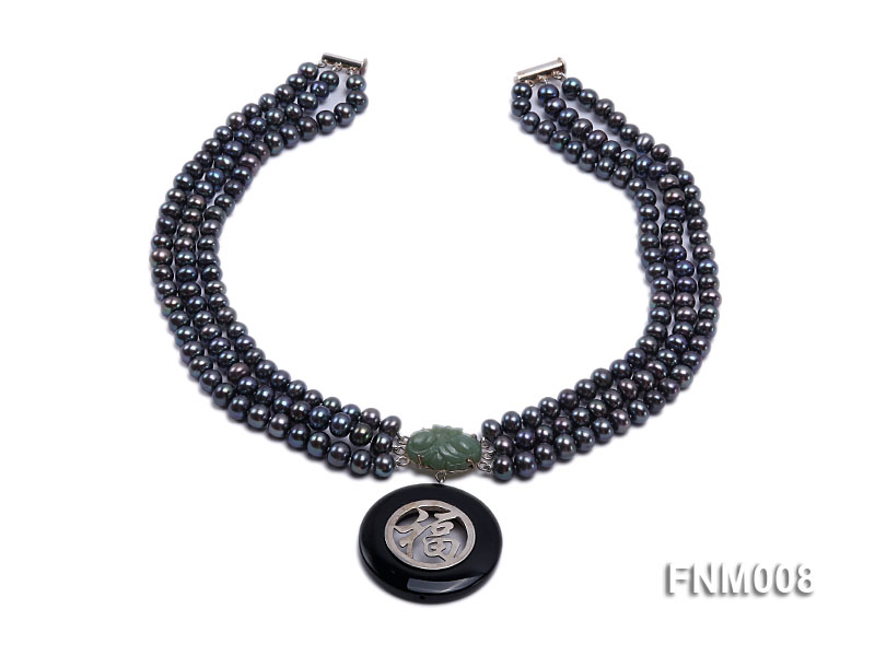 3 strand 5-6mm black round freshwater pearl necklace with agate pendant  big Image 2