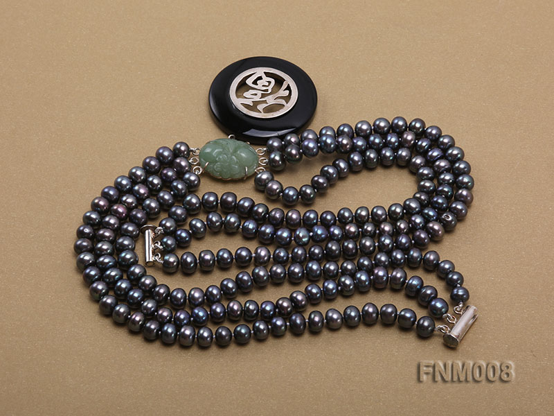 3 strand 5-6mm black round freshwater pearl necklace with agate pendant  big Image 5