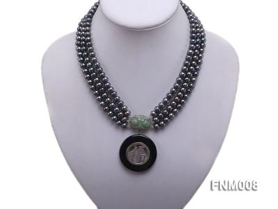 3 strand 5-6mm black round freshwater pearl necklace with agate pendant  FNM008 Image 1