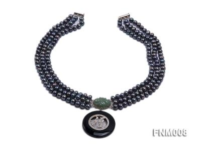 3 strand 5-6mm black round freshwater pearl necklace with agate pendant  FNM008 Image 2