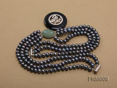 3 strand 5-6mm black round freshwater pearl necklace with agate pendant  FNM008 Image 5