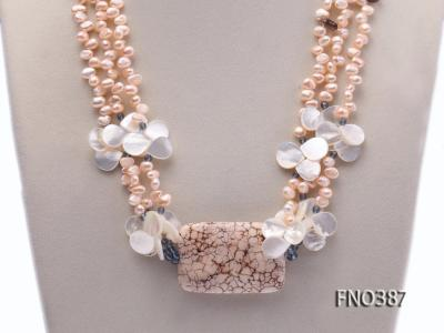 5x8mm white flat pear and drop-shaped shell and white turquoise and crystal necklace FNO387 Image 2