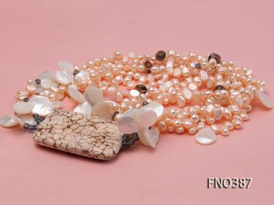 5x8mm white flat pear and drop-shaped shell and white turquoise and crystal necklace FNO387 Image 3