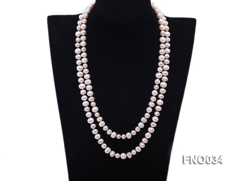 8-9mm colorful round freshwater pearl necklace big Image 1