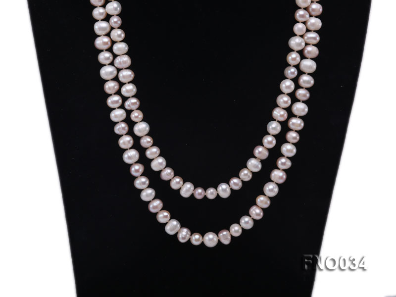 8-9mm colorful round freshwater pearl necklace big Image 2